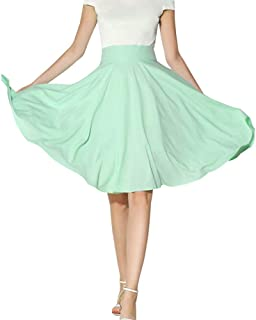 e1dbcc8b72a2da Morbuy Röcke Damen Sommer Knielang, Polyester Faltenrock Hohe Taille  A-Linie Freizeit Elastischer Taillen