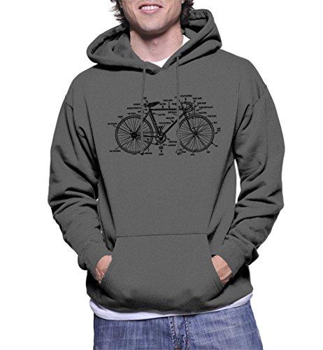 Men's Anatomy of A Bicycle Hoodie Sweatshirt (Charcoal, X-Large)