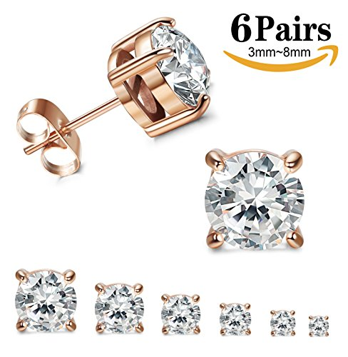 Thunaraz Stainless Steel Stud Earrings for Women Round Cut Cubic Zirconia Earrings Set 6 Pairs 3mm-8mm Rose Gold Tone (Stainless Steel Earrings Shiny)