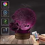 EFGS 3D Phantom Lamp, LED Optical Illusion Multicolor Night Light, Remote Control USB Charge Small Desk Lamp,, (Football Cap)