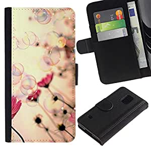Estuche de Cuero Billetera del tirón Tarjeta de la Bolsa Titular de Suave Caso para Samsung Galaxy S5 V SM-G900 / CECELL Phone case / / Bubbles Spring Soap Vignette Pink /