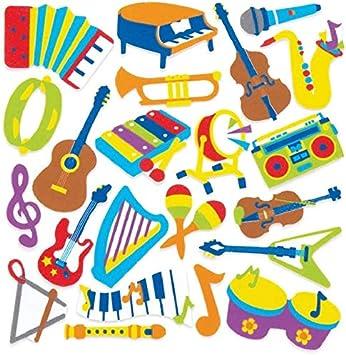 Baker Ross- Pegatinas de espuma con forma de instrumentos musicales (Pack de 120) - Pegatinas de espuma con temática de instrumentos musicales en divertidas formas para pegar en álbumes de recortes: Amazon.es: