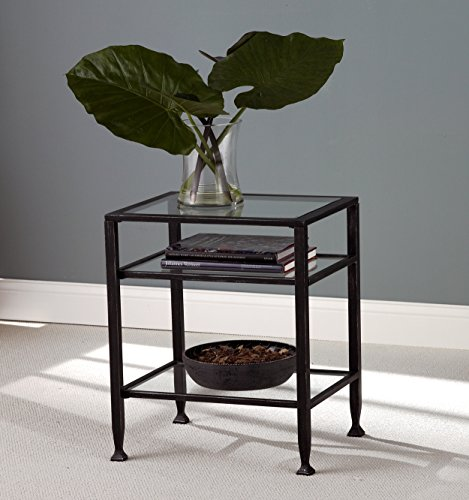 037732087726 - Southern Enterprises Bunching Glass Side End Table, Black with Silver Distressed Finish carousel main 1