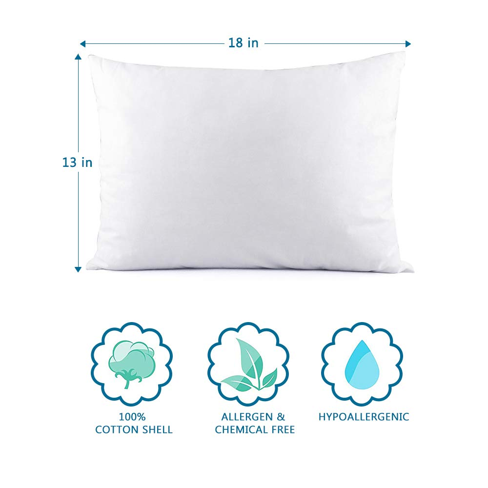 Toddler Pillow 13x18 Washable Hypoallergenic Childs Pillows for Sleeping Toddler Bedding White Kids