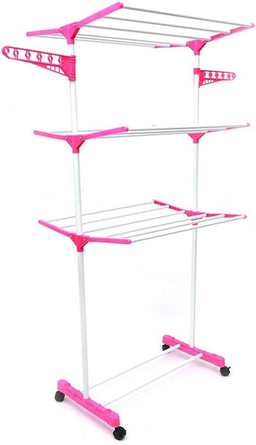Mezclas 3 Tendedero de torre, acero, compacto, plegable, plegable, Tendedero de torre 3 niveles, con ruedas giratorias, rosa: Amazon.es: Jardín