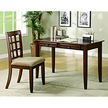 Bon Coaster Casual Chestnut Wood Table Writing Desk With Two Drawers And Desk  Chair