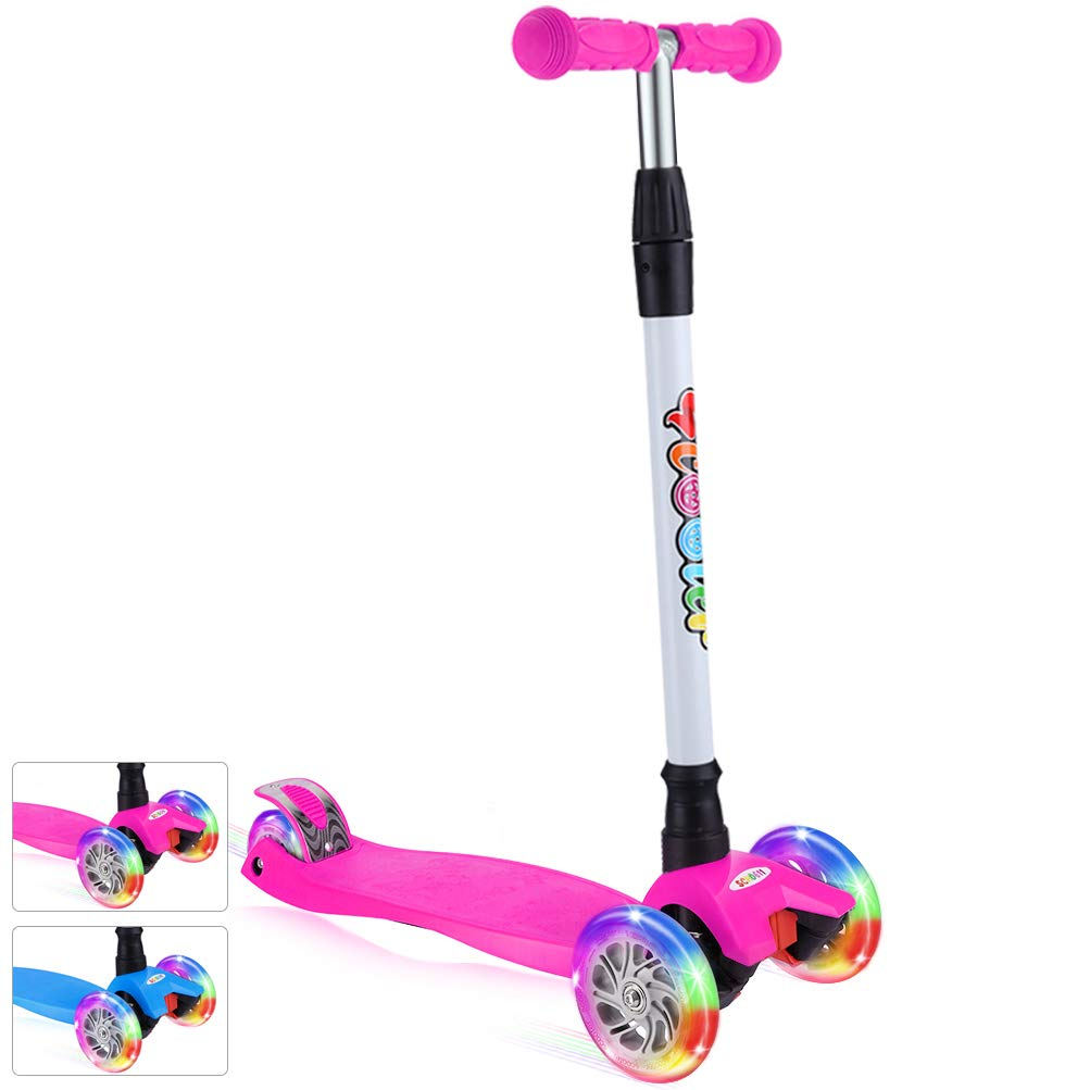 BELEEV Kick Scooter for Kids 3 Wheel Scooter for Toddlers Girls & Boys, 4 Adjustable Height, Lean to Steer with PU LED Light Up Wheels for Children from 3 to 14 Years Old