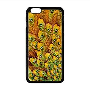 Amazing Colorful Peacock feathers pattern Custom Case for iPhone6 plus 5.5inch PC case cellphone cover black
