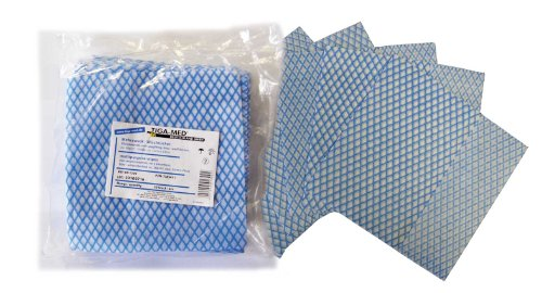 Wischtücher Mehrzwecktücher 100 Stück Einmal Tücher blau/weiss Vlies 33x34cm Putztücher saugfähig Original Tiga-Med