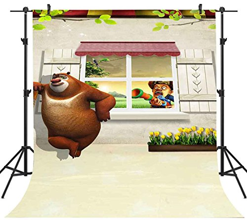(FH 5x7ft Animated Characters Bald Strong Bear Big Photography Backdrop Room Green Leaves Yellow Flower Background Themed Party YouTube Backdrops Wallpaper Photo Booth Studio Props TMFH205)