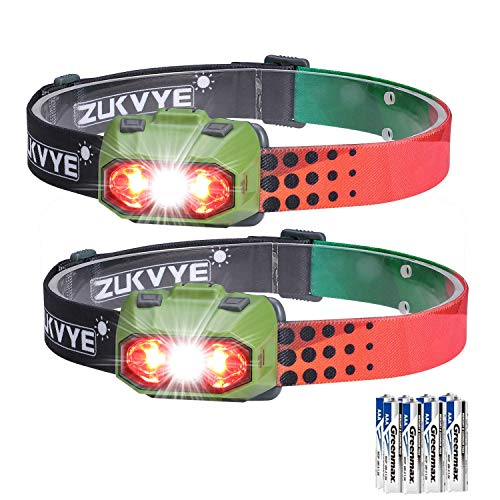 Zukvye Dimmable Headlamp, Ultra Bright 230 Lumen White & Red LED Headlamps, Waterproof Head Light for Running, Camping, Kids, DIY & More - 6 AAA batteries included ()