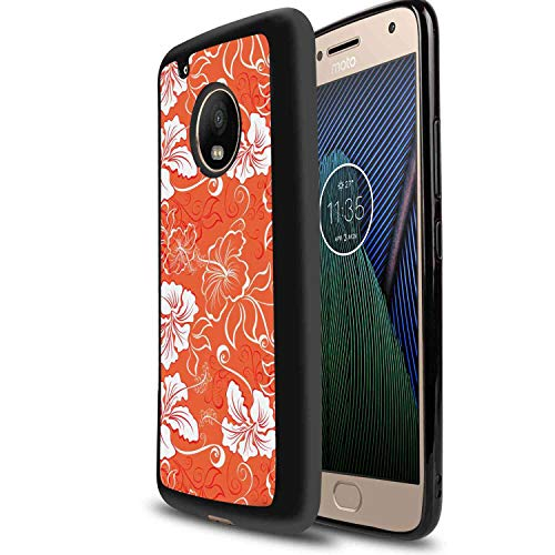 Soft TPU Phone Case Fit Motorola Moto G6 (5.7in) Burnt Orange Hawaiian Hibiscus Pattern with Swirls and Curves on Background Burnt Orange and White