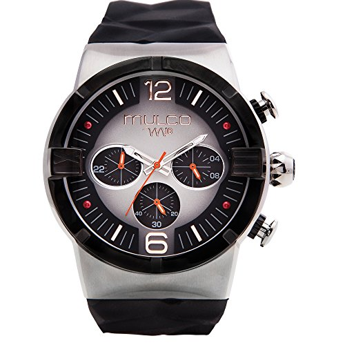 Mulco M10 Dome Gents Collection Watch - Premium Analog Display - Black 100% Silicone Band - Chronograph - Water Resistant - Stainless Steel -Men's Fashion MW5-3685-025