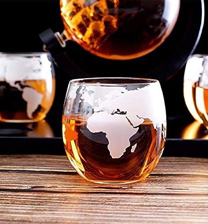 Tcbz Juego de Jarra de Whisky, Jarra de Globo con Grabado Mundial, Barra de Vasos de Barco Antiguo, dispensador de licores, Whisky escocés, Vodka, Ron, Vino, Tequila, Brandy