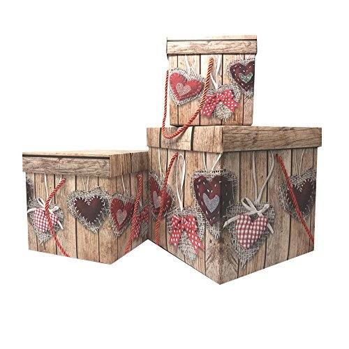 Decorative Heart Box (The Wrap It Elegant Decorative Themed Nesting Gift Storage Box Birthday Gift, Easy To Assemble and Reusable-No Glue Required, Large/Medium/Small, Set of 3 (Heart And Wood))