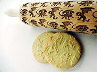 DRAGONS embossing rolling pin. Wooden embossing rolling pin with dragons