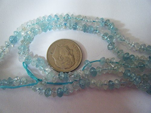 Beads, Blue Topaz Graduated Faceted Rondelle 5x3mm-7