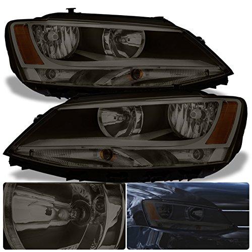 For VW Volkswagen Jetta MK6 MKVI VAG Euro Front Bumper Headlight Head Lamp Chrome Housing Smoke Smoked Lens Amber Reflector Upgrade Assembly Pair Left Right