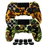 Cheap Hikfly Silicone Gel Controller Cover Protector Kits for Sony PS4 /PS4 Slim/PS4 Pro Controller Video Games(2 x Controller Cover with 8 x FPS Pro Thumb Grip Caps)(Yellow)