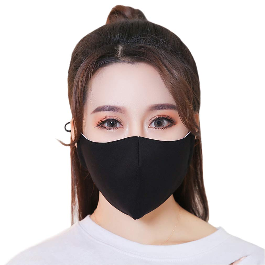 iHomey 3-Pack Black Cotton Thin Breathable Dust-proof and Anti-flu Mouth Mask Fit for Spring/Summer/Autumn