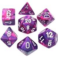 Polyhedral Dice: Festive Violet w/ White