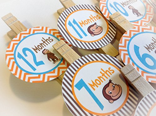 1st Year Photo Clips - Curious George Inspired Happy Birthday Collection - Orange Chevron and Brown Stripes & Turquoise Accents - Party Packs Available