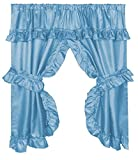 Diamond Dot Ruffled Fabric Bathroom Window Curtain With Attached Valance and Tiebacks - Light Blue