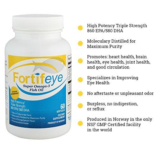 Fortifeye Vitamins Super Omega 3 Fish Oil, Natural Triglyceride Form Omega-3 Supplement, Triple Strength 860 EPA + 580 DHA per Serving, 60 Softgel Capsules. by Fortifeye Vitamins (Image #4)