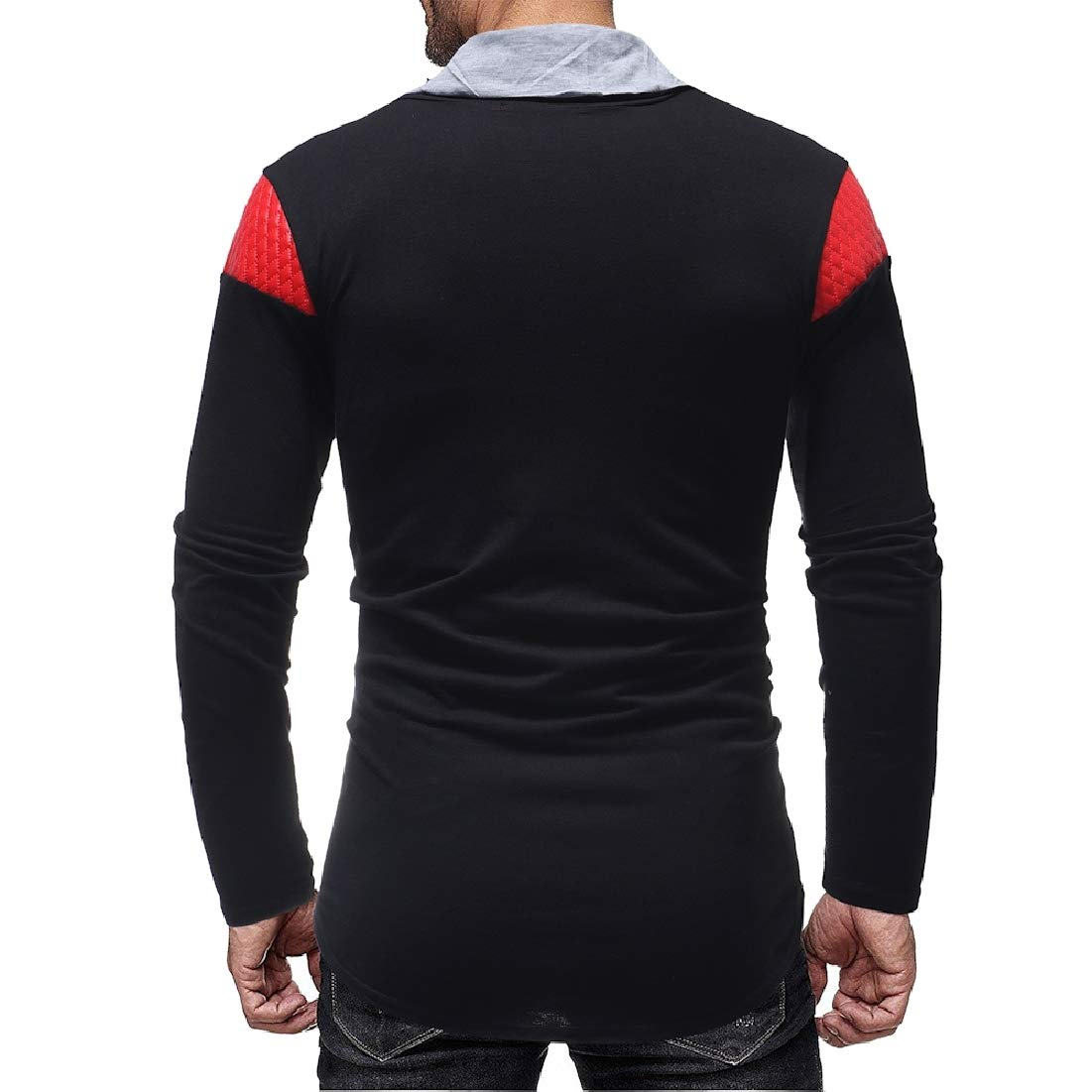 BYWX Men Stand Collar Color Block Long Sleeve Slim Fit PU Stitching T Shirts Tee