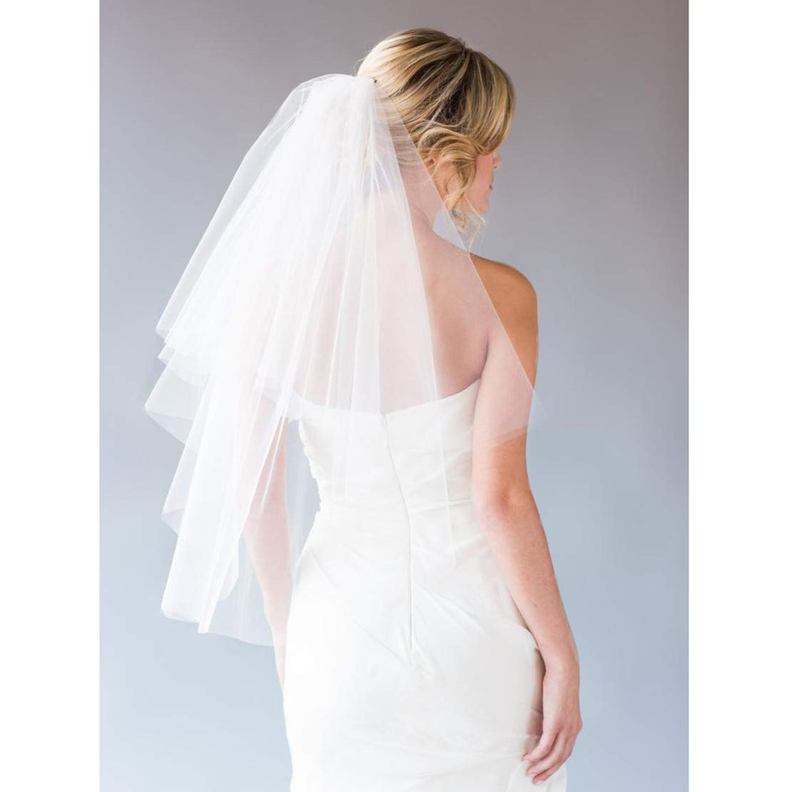 Fangsen Wedding Bridal Veil with Comb 2 Tier Tulle Short Wedding Veil Fingertip Length ( 2T Fingertip Light Ivory) by Fangsen