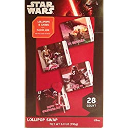 Star Wars the Force Awakens 28 Count Valentines Candy Card Kit Lollipops with Teacher Card