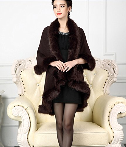 Pinkmerry Women's Faux Fox Fur Wool Blend Cloak Coat Winter Shawl Cape