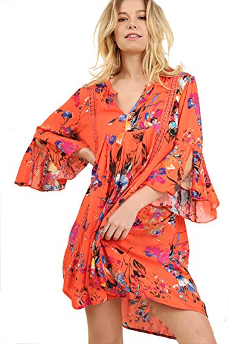Umgee Contemporary Boho Floral Dress or Tunic (Large, Bright Coral)