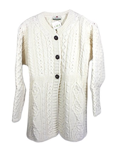 Ladies A Line Aran Wool Sweater Cardigan Small White (Fisherman Sweater Cardigan Irish)