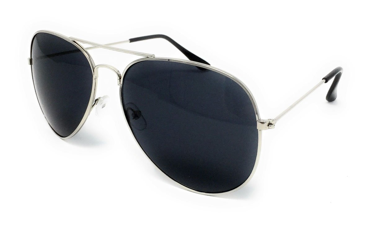 Aviator Style Sunglasses - Unisex Shades Top Gun UV400 Mens Ladies (Silver Frame Black Lens)