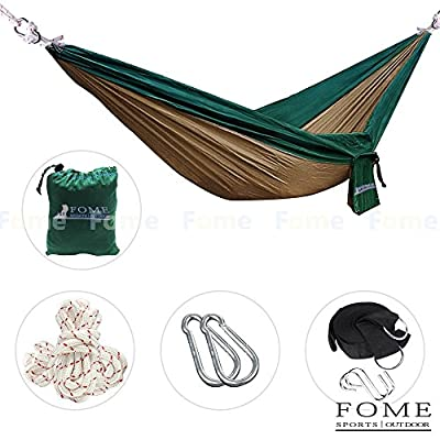 FOME SPORTS|OUTDOORS Parachute Fabric Hammocks Ultralight Camping Hammock Hanging Bed 108 x 57 inch 440lbs Capacity With Hammock Tree Hanging Adjustable Straps