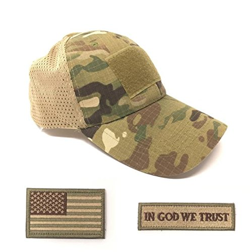 Emproda Mesh Tactical Cap Bundle with USA Flag Patches, Durable Multicam Hat with Moral Patches, Adjustable Tactical Cap Fit Most, Perfect for Training, Hunting, Airsoft, Operation, Camping, Hiking