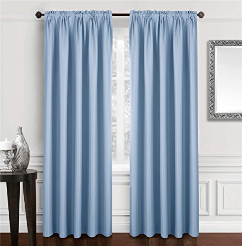 Dreaming Casa Solid Room Darkening Blackout Curtain for Bedroom 63 Inches Long Draperies Window Treatment 2 Panels Blue Rod Pocket 2(42