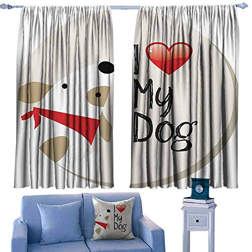Mannwarehouse Decor Curtains Dog Lover Decor Collection I Love My Dog Text Typeset Typescript Medical Veterinary Abstract Illustration Privacy Protection 72