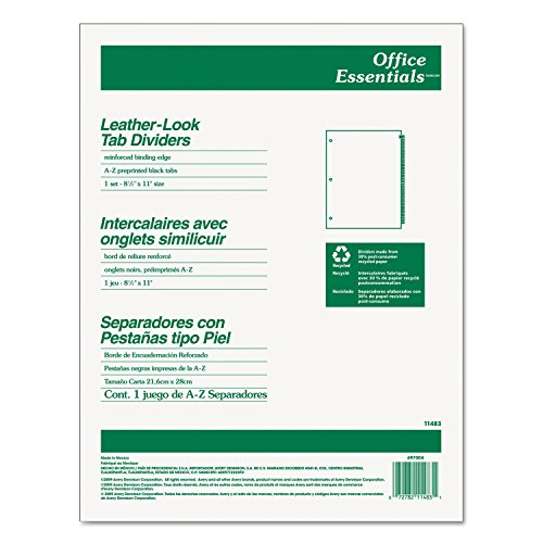 Az Leather Look Tab Dividers (Avery Dennison Leather-Look Tab Dividers, A-Z, 3Hp, 8-1/2