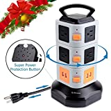 Rdxone 10-Outlet Surge Protector Tower Power Strip with 4 USB Ports- Overload Protection & Rotating Multi Vertical Socket Power Bar with Retractable Extension Cord (6ft), for Home Theater, Office, School