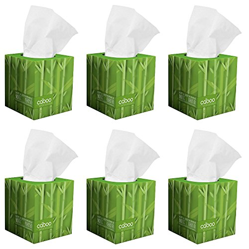 Caboo Tree Free Bamboo Facial Tissue Paper, Eco Friendly Hypoallergenic Tissue Box with 90 Sheets Per Cube, Total of 6 Cubes, 540 Total Tissues (Lint Free Tissue)