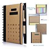 Office Business Spiral Notebook, Betterhill Wirebound Notebook With Solar Calculator, Sticky Notes, Card Solt And Pen, B5 Size (7x4.7in)