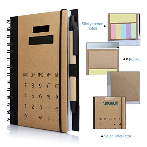 - Office Business Spiral Notebook, Betterhill Wirebound Notebook With Solar Calculator, Sticky Notes, Card Solt And Pen, B5 Size (7x4.7in)