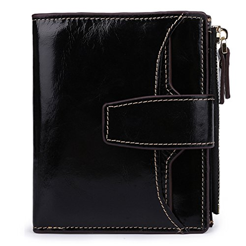 AINIMOER Women's RFID Blocking Leather Small Compact Bi-fold Zipper Pocket Wallet Card Case Purse (Waxed - Wallet Compact Leather