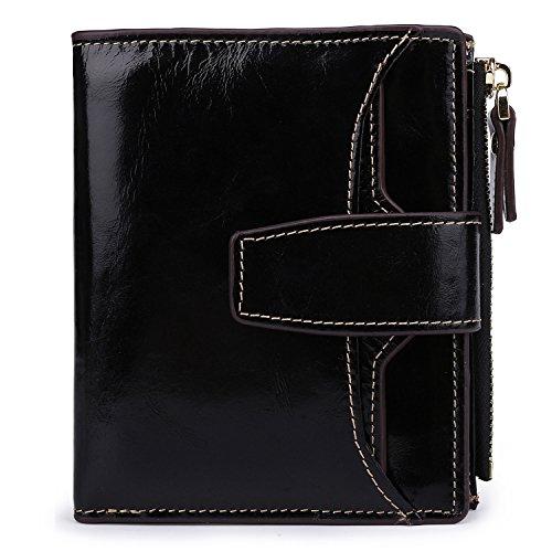 AINIMOER Women's RFID Blocking Leather Small Compact Bi-fold Zipper Pocket Wallet Card Case Purse (Waxed Black)