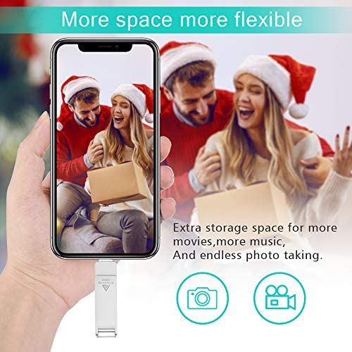 Photo Stick, iOS Flash Drive 128GB, ANYOUG USB 3.0 Photo Stick Mobile Comptible for iPhone, Memory Stick Thumb Drive Jump Drive Password/Touch ID Protected Compatible for iPhone/iPad/Android Sliver