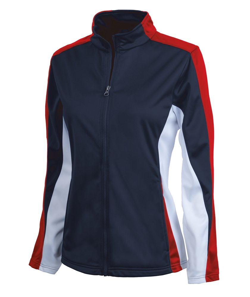 Charles River Apparel Girl's Dry Sporty Energy Jacket, Navy/Red/White, X-Large
