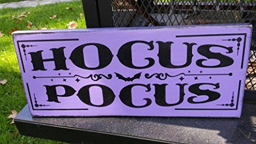 Wood Sign Halloween Distressed Hocus Pocus Rustic Primitive Sign Witch Pumpkin Graveyard Fall Decor Halloween Decoration Purple Halloween