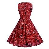 Fashion Women Halloween Rose Skull Print Sleeveless Swing Midi Dress Cocktail Party Dress (M, Red)